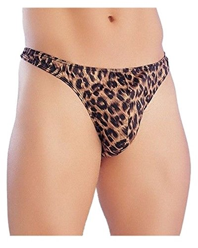 (Mens Pouch Briefs Thong Novelty Fun Gift stag Night one Size Leopard)