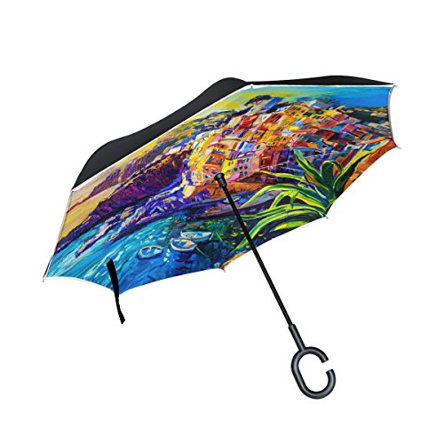My Daily Double Layer Inverted Umbrella Cars Reverse Umbrella Italy House Boat Sea Oil Painting Windproof UV Proof Travel Outdoor Umbrella by My Daily