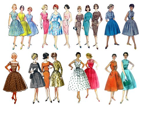 Vintage Fashion Fifties (7″x10″) Clear Stamps Large Sheet / 50s Fashion Girls 51SUq6UXCrL