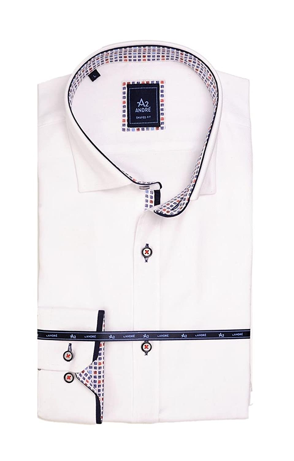 A2 Majorca 100% Luxury Cotton Smart Casual Shirt in crisp white and beautifully designed by Andr茅 Menswear