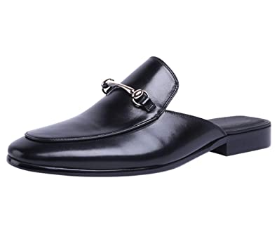 e8c4d17b0900 Santimon Mules Men Leather Buckle Casual Penny Loafer Slippers Slip on  Shoes Sandals Black 5.5 D