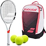 Babolat Pure Strike 25 Inch Racquet (4'' Grip) Junior Player Set or Kit Bundled with a Pink Club Backpack and (1) Can of 3 Tennis Balls