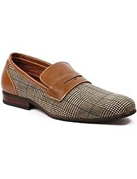 Men's Ferro Aldo 19371 Designer Plaid Print Slip On Penny Loafers Dress Shoes
