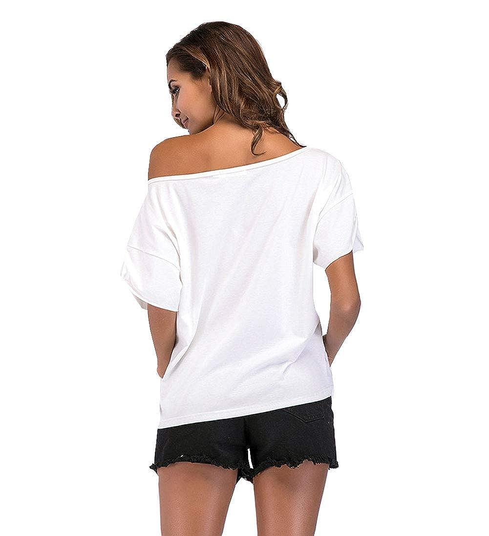JANYN Womens Loose Casual Short Sleeve Batwing Sleeve Top T-Shirt Blouse