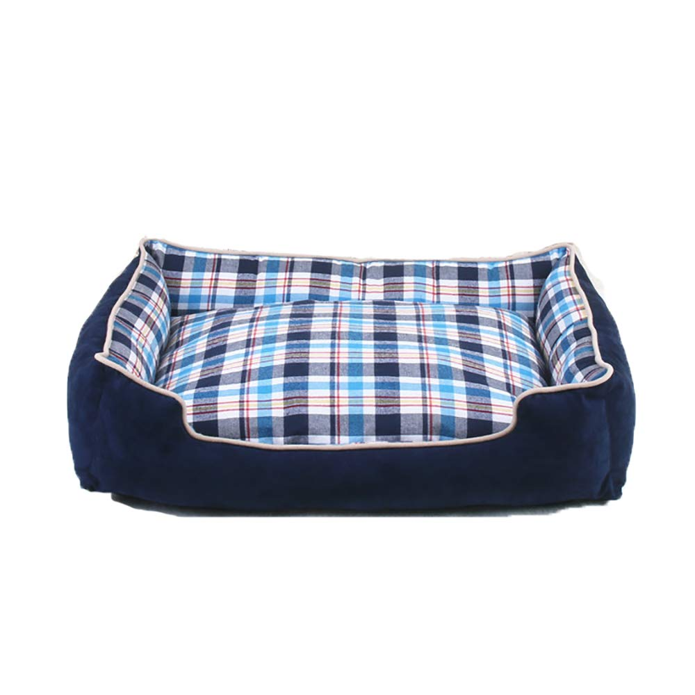 50cm Cat and Dog Pet Nest, Removable and Washable Canvas Pet Nest, Pet Bed for Small, Medium and Large Dogs, bluee Plaid (Size   50cm)