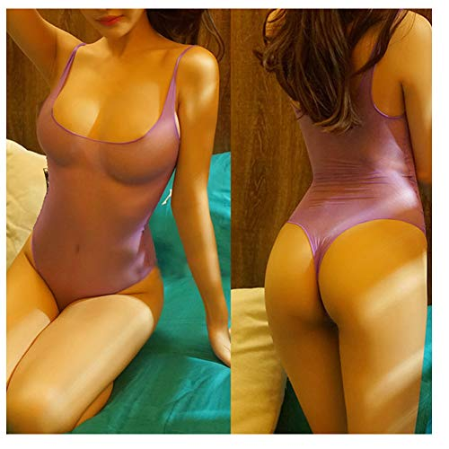Nylon Bodystockings - Tomtop201309 Women's High Shiny Women AnyCut Nylon Transparent Nightwear Bodysuit Bodystocking Bikini (Purple)