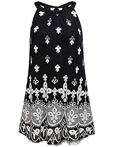 Floral Tank Top Women,Figure Flattering Summer Shirts Sleeveless Round Neck Tie Back Halter Blouses Double Layers Pleated Dressy A Line Tunics for Girls Ladies Chic Black Clothes White Flower L