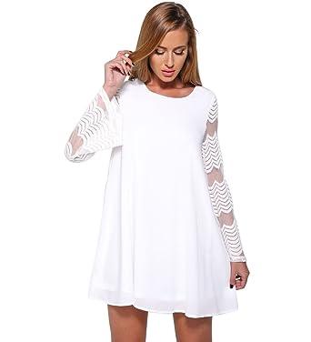 2ec646a3cd0 Landove Chemise en Mousseline de Soie Haut Dentelle Femme Manches Longue  Tunique Lâce Mini Robe Elégante T-Shirt Tops Blouse Manches Trompette   Amazon.fr  ...