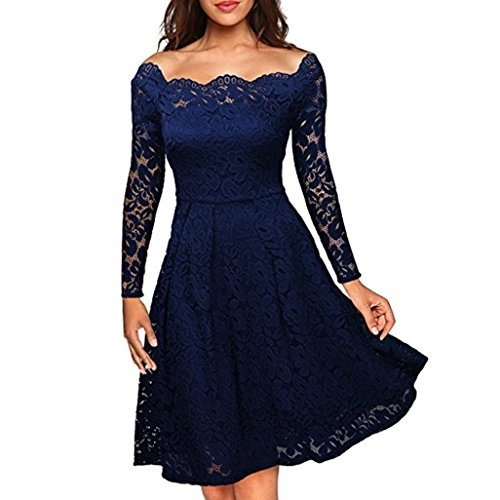 Pregnant Prom Queen Costume (Womens Dress,FUNIC Women's Floral Lace Long Sleeve Dress Boat Neck Cocktail Formal Dress (XL, Blue))