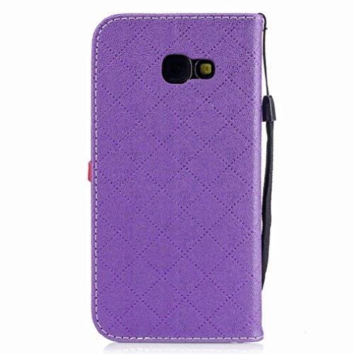 Yiizy Samsung Galaxy A5 (2017) Custodia Cover, Amare Design Sottile Flip Portafoglio PU Pelle Cuoio Copertura Shell Case Slot Schede Cavalletto Stile Libro Bumper Protettivo Borsa (Viola)