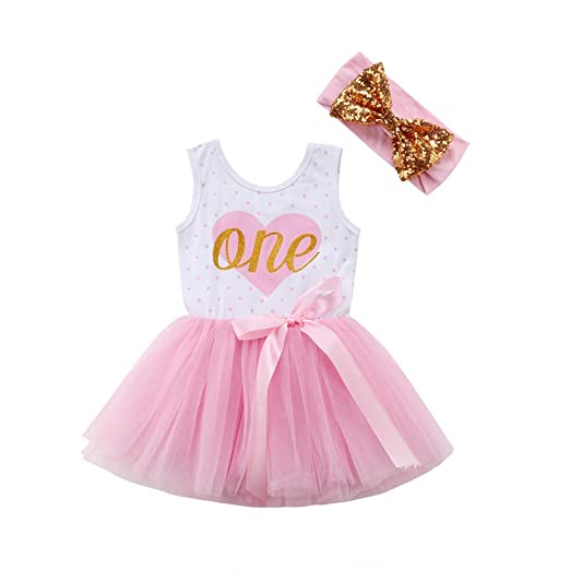 1d00047c813 First Birthday Party Baby Toddler Girl Summer Sleeveless ONE Heart Tutu Dress  Sequin Headband Princess Playwear