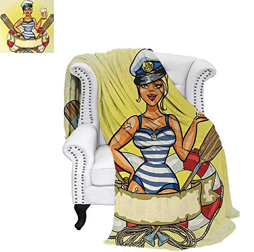Warm Microfiber All Season Blanket for Bed or Couch Pin-Up Sexy Sailor Girl Lifebuoy with Captain Hat and Costume Glass of Beer Feminine Throw Blanket 60