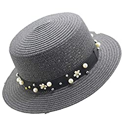 Collocation Online New Korean Casual Sun Hat Straw Ladies Sun Hat Pearl Flat Hat Beach Hat Black Adult 56 58cm