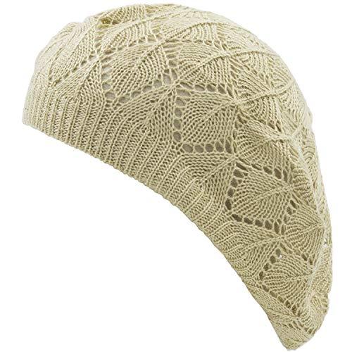 an Womens Beige Diamond Stripe Geometric Chic Beanie Hat Beret Cap