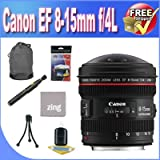 Canon EF 8-15mm f/4L Fisheye USM Ultra-Wide Zoom Lens + Lens Case + Zing MicroFiber Cleaning Cloth + Lens Pen Cleaner + Lens Accessory Saver Bundle!!!