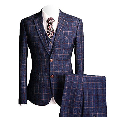 MAGE MALE Men's Plaid 3 Piece Suit Modern Slim Fit Two-Button Single Breasted Wedding Formal Party Blazer Vest Trouser Set by MAGE MALE
