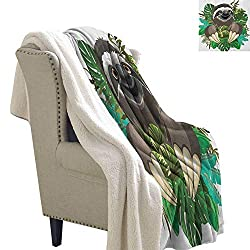 Suchashome Sloth Print Summer Quilt Comforter Cartoon Mammal On Tropical Jungle With Green Banana Leaves Cute Character Digital Printing Blanket 60x47 Inch Chocolate Green Ivory