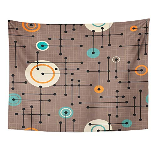 (Emvency Tapestry Wall Hanging Brown Mod 1950S Retro Pattern of Lines and Circles Design Linen Overlay Green Dots 60