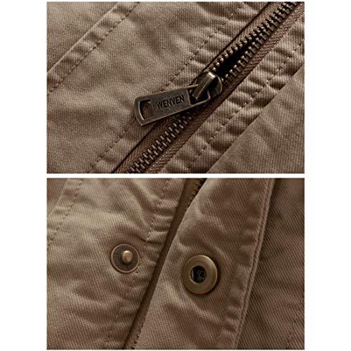 À Éclair Casual Homme Multi Blouson Matelassée Fermeture Wenven Automne Kaki Hiver Coupe D'hiver Manteaux Workwear poche Style Veste vent FgptXxXqw
