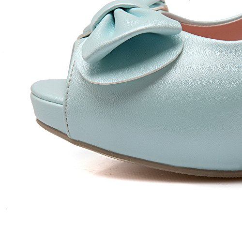 AgooLar Mujeres con Pajarita Peep Tacón ancho Sin cordones Sólido Sandalia Azul