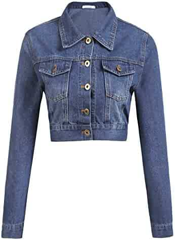 8b4bdb76708a8 Grabsa Women s Button Down Long Sleeve Cropped Denim Jean Jacket with  Pockets