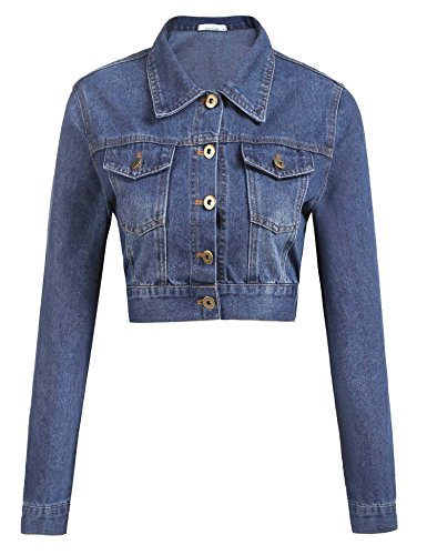 - Grabsa Women's Button Down Long Sleeve Cropped Denim Jean Jacket with Pockets, Clear Blue, Small