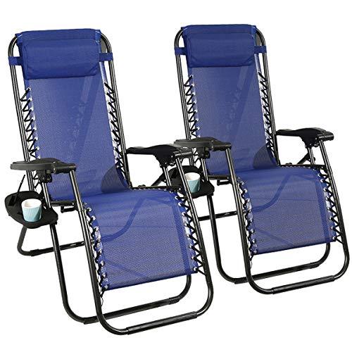🥇 Barreau Piaf Zero Gravity – Juego de 2 sillas para exteriores plegables con soporte para tazas de teléfono