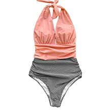 Seaselfie Women's High Waisted Halter Design Stripes One-piece Swimsuit