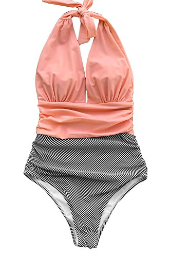 CUPSHE Fashion Keeping You Accompained Stripe One-Piece Swimsuit Beach Swimwear Bathing Suit (Halter Cup One Piece)