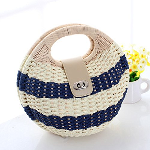 Handbag Blue Rattan Bag Rural Sweet Beauty Bag Style Weaving Leisure Summer GAOQQ Bag Straw Bag Beach Blue qwxBXHa