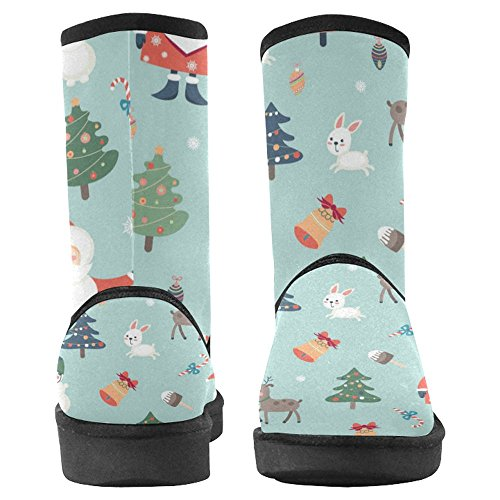 InterestPrint Womens Snow Boots Unique Designed Comfort Winter Boots Santa Claus, Deer, Snowman and Other Holiday Symbols Multi 1