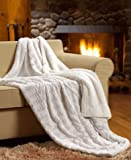 Tache White Ivory Super Soft Warm Polar Faux Fur with Sherpa Throw Blanket 63 x 87