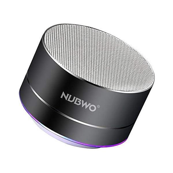 Enceinte Bluetooth, NUBWO A2 Enceinte Bluetooth Mini Portable de Voyage, Enceinte sans Fil avec des Basses Enforcées et des Appels en Mains Libres, Fonctionne avec iPhone, iPad, Samsung - Noir 1