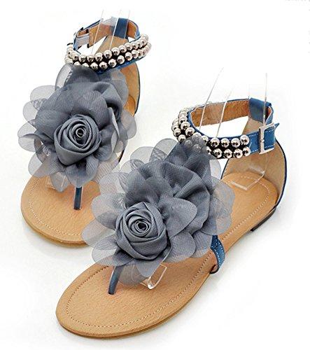 Aisun Damen Blumen Perlen Knöchelriemchen Flache Zehentrenner Römersandalen Blau