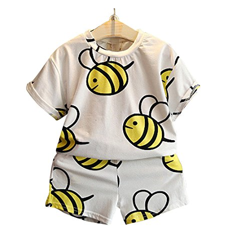FANCYKIDS Girls Boys Toddler Bumble Bee Shirt Top Pants Shorts Outfit Set (3 to 4 Years Old, Bee)