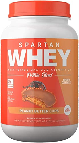 Spartan Whey Protein Powder. Best Prices and Highest Rated Blend, Delicious Protein Isolate, Concentrate, and Micellar Casein Blend with AstraGin for Amino Acid Absorption. Peanut Butter Cups 2 lb