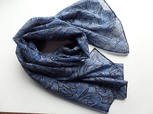 Silk Cotton Voile Scarf Made with Liberty of London Portsea Sandalwood Paisley Fabric in Blue