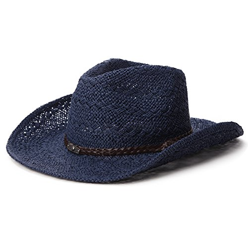 Jeff & Aimy Western Aussie Outback Leather Cowboy Cowgirl Straw Sun Hats for Women Shapeable Brim with Chin Strap Navy ()