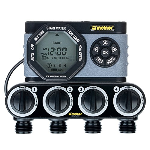 Line Timer Water (Melnor 53280 4-Outlet Digital Water Timer Simple and Flexible Programming, 4 Zone)