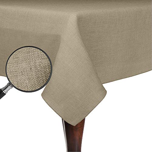 Ultimate Textile Faux Burlap - Havana 72 x 120-Inch Rectangular Tablecloth - Basket Weave, Natural