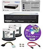Pioneer 16x BDR-211UBK Internal Ultra HD Blu-ray BDXL Burner, Cyberlink Software and Cable Accessories Bundle with 100pk DVD-R Verbatim 4.7GB 16X DataLifePlus White Inkjet, Hub Printable
