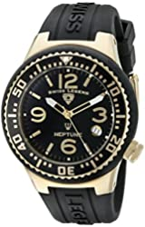 Swiss Legend Women's 11044P-YG-01 Neptune Gold Ion-Plated Watch with Black Silicone Band