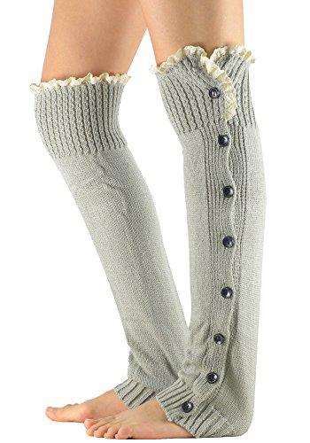 Zando Women's Knitted Lace Boot Cuffs Thigh High Socks Crochet Long Leg Warmers Light Grey (How To Wear Thigh High Boots)