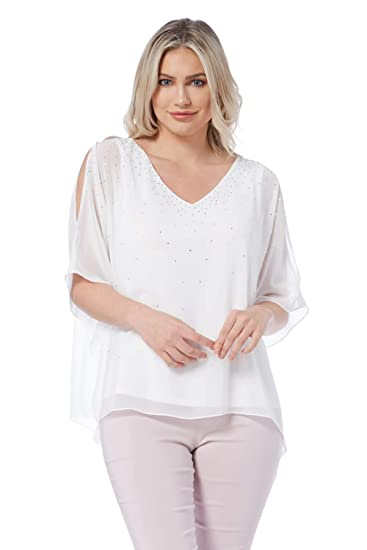 17c0fdd21aa7c Roman Originals Women V-Neckl Chiffon Diamante Embellished Top - Ladies  Going Out Party Clubbing Cocktails Holiday Evening Tops - Ivory - Ivory -  Size 10: ...