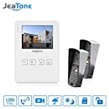 JeaTone 4 Inch Video Doorbell Door Phone Intercom System 1 Monitor 2 Cameras Unlocking Electronic Lock Video Recording Photo Taking