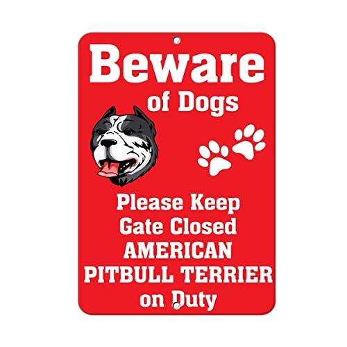 DYTrade Tin Metal Sign American Pitbull Terrier Dog Beware of Fun Novelty Metal Sign 8