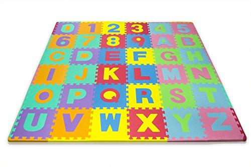 Matney Kid's Foam Floor Alphabet and Number Puzzle Mat, Multicolor (36 Piece)