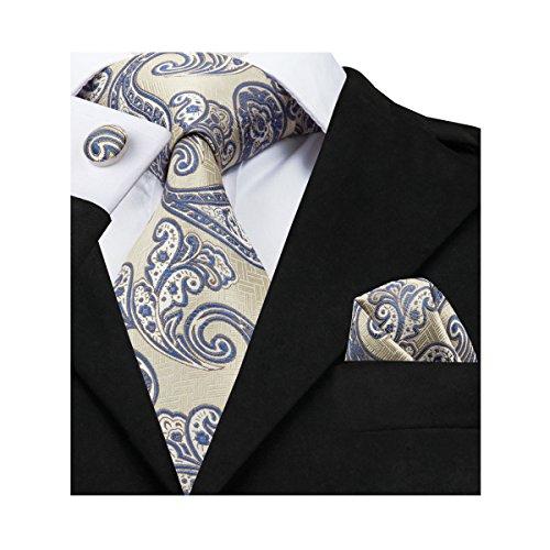 Barry.Wang Yellow Paisley Tie Set Hanky Cufflinks Men Neckties