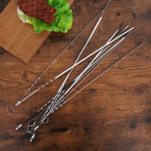 Doitool Lot de 20 brochettes en acier inoxydable pour grillades en acier inoxydable