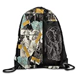 Drawstring Backpack Art Design Print Rucksack Shoulder Bags Gym Bag Hip Hop Brooklyn Grit 2017 Slogan Statue Of Liberty 17''x14''
